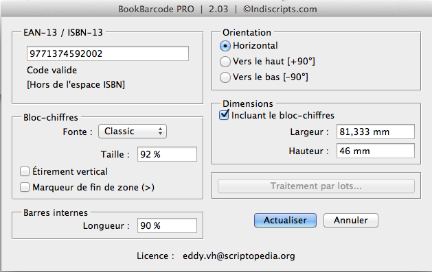 Manage EAN13/ISBN barcode directly within Indesign